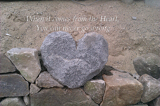 When it comes from the heart, you can never go wrong [heart shaped rock]